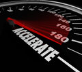 Accelerate Word Speedometer Faster Speed Racing Competition Royalty Free Stock Photo