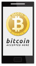 We accept bitcoins golden bitcoin virtual currency on mobile phone Stock Images