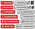 Accept Reject Stamp Set Royalty Free Stock Photography