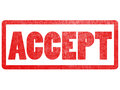 Accept text sign label stamp. Royalty Free Stock Photo