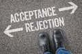 Acceptance or rejection decision at a crossroad Stock Photo