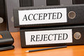 Accepted and rejected binders business on office desk quality control concept Royalty Free Stock Images