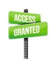 Access granted road sign illustration design over a white background Royalty Free Stock Photo