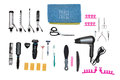 Accessories for aesthetic care and hairstyle on white background Royalty Free Stock Photo