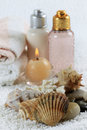 Accessories for a bath with candles and corals Royalty Free Stock Image