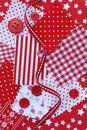 Accessories for sewing in red white color fabric buttons Stock Photo