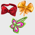 Accessories in shape of butterfly, tie and hairpin Royalty Free Stock Photo