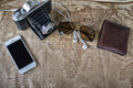 Accessories for travel,wallet,photo camera, smart phone,sunglass