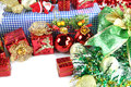 Accessory decorations in christmas or new year red ball and gift box of Stock Photos