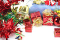 Accessory decorations in christmas or new year red ball and gift box of Royalty Free Stock Photos