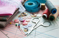 Accessory of the tailor sewing background Stock Image