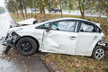 Accident car crash with tree Royalty Free Stock Photo