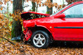 Accident car crashed into tree it is totally destroyed Stock Image