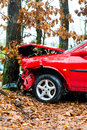 Accident car crashed into tree it is totally destroyed Royalty Free Stock Photo