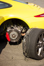 Accident car wheels sport with on the pavement Royalty Free Stock Photos