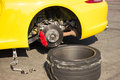 Accident car wheels sport with on the pavement Royalty Free Stock Images