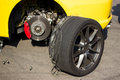 Accident car wheels sport with on the pavement Stock Photography