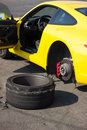 Accident car wheels sport with on the pavement Stock Photos