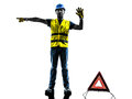 Accident detour deviation man silhouette isolated in white background Royalty Free Stock Photo