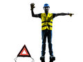 Accident detour deviation man silhouette isolated in white background Stock Photos