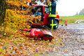 Accident - Fire brigade rescues Victim of a car Royalty Free Stock Photo