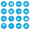 Accident insurance icon blue