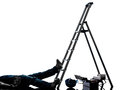 Accident manual worker man falling from  ladder  silhouette Royalty Free Stock Photo