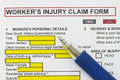 Accidental injury claim form manu uses in the insurance industry Stock Photo