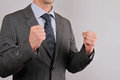 Accomplish yes businessman showing symbol of success close up winner concept business man Stock Photo