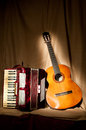 Accordion and guitar Royalty Free Stock Images