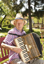 Accordion old man enjoying playing in his garden on sunny day Stock Images