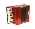 Accordion red isolated on white Stock Photos