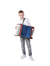 Accordion young boy playing on isolated on white clipping path Royalty Free Stock Image