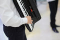 Accordionist in restaurant man playing accordion Royalty Free Stock Photography
