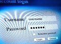 Account login sequence secure log in Stock Image