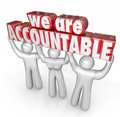 We are accountable team lifting words taking responsibility d lifted by a of people or workers who take for a business or company Stock Photo
