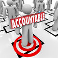Accountable word targeted person pinning blame on worker org cha in d letters pinned onto a standing an chart as placing the or Stock Image