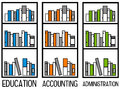 Accounting and administration having bookshelves for education Stock Image