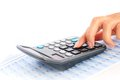 Accounting concept hand and calculator Stock Photo
