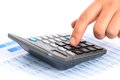 Accounting concept hand and calculator Royalty Free Stock Photo