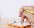 Accounting concept hands and calculator the Royalty Free Stock Photo