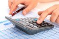 Accounting concept hands pen and calculator Stock Photography
