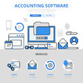 Accounting software app application concept flat line art vector icons