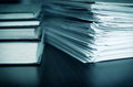 Accounting and taxes large pile of magazine books closeup Royalty Free Stock Photography