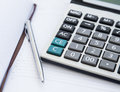 Accounting Tools with Agenda, Calculator and Pen.Office Financia Royalty Free Stock Photo