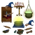 Acculite ancient manuscripts, books, pot with potion, witch hat