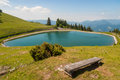 Accumulation lake on golte slovenia beautiful view hill Royalty Free Stock Image