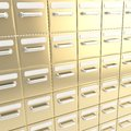 Accurate infinite rows of drawers as business background golden metal abstract Stock Photos