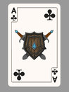The ace of clubs playing card