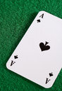Ace on green spades casion table Royalty Free Stock Photo